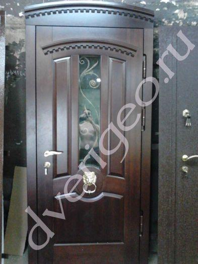 Массив дуба с 2-х сторон с кованным элементом элитные двери металлические двери массив дуба металлические двери парадные